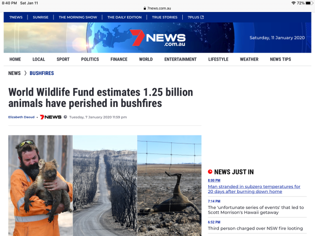 7 News Australia World Wildlife Fund estimates 1.25B animals have perished in Australia fires due to human destructive practices leading to ecocide and global warming.