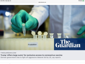 Coronavirus: anger in Germany at report Trump seeking exclusive vaccine deal.
