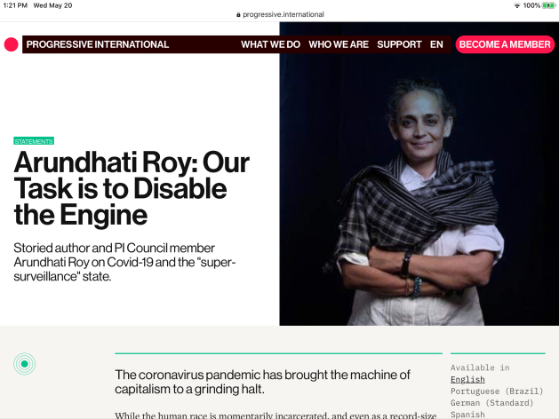 Arundhati Roy, power, abuse of power, health, Covid-19, super-surveillance state